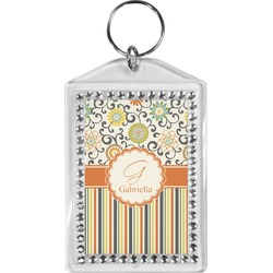 Swirls, Floral & Stripes Bling Keychain (Personalized)