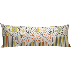 Swirls, Floral & Stripes Body Pillow Case (Personalized)