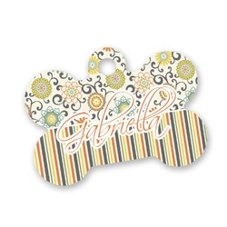 Swirls, Floral & Stripes Bone Shaped Dog Tag (Personalized)