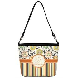 Swirls, Floral & Stripes Bucket Bag w/ Genuine Leather Trim (Personalized)
