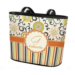 Swirls, Floral & Stripes Bucket Tote w/ Genuine Leather Trim (Personalized)