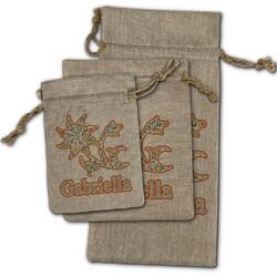Swirls, Floral & Stripes Burlap Gift Bags (Personalized)