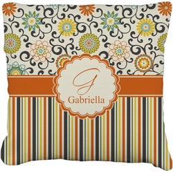 """Swirls, Floral & Stripes Faux-Linen Throw Pillow 26"""" (Personalized)"""