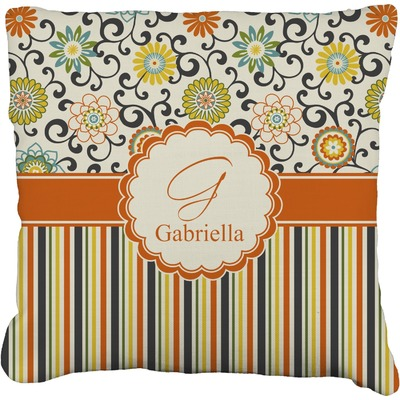 Swirls, Floral & Stripes Faux-Linen Throw Pillow (Personalized)