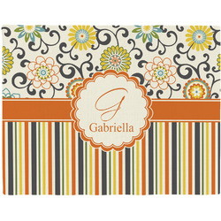 Swirls, Floral & Stripes Placemat (Fabric) (Personalized)