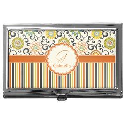 Swirls, Floral & Stripes Business Card Holder
