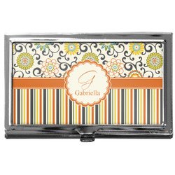 Swirls, Floral & Stripes Business Card Case