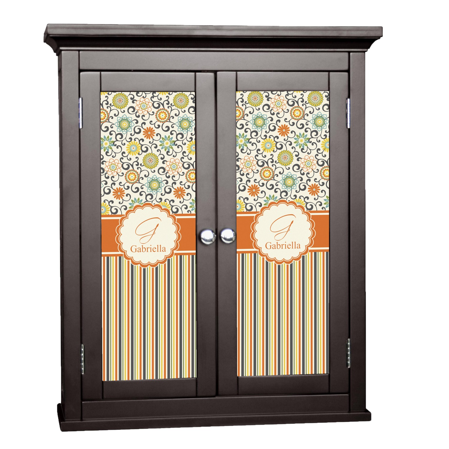 Swirls floral stripes cabinet decal large for Kitchen cabinets lowes with how to make decal stickers