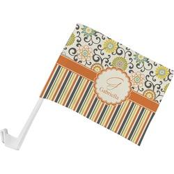 Swirls, Floral & Stripes Car Flag (Personalized)