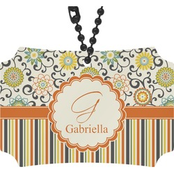 Swirls, Floral & Stripes Rear View Mirror Ornament (Personalized)