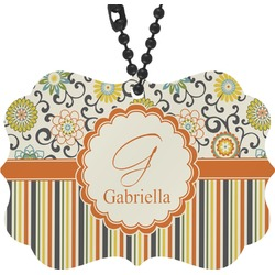 Swirls, Floral & Stripes Rear View Mirror Decor (Personalized)