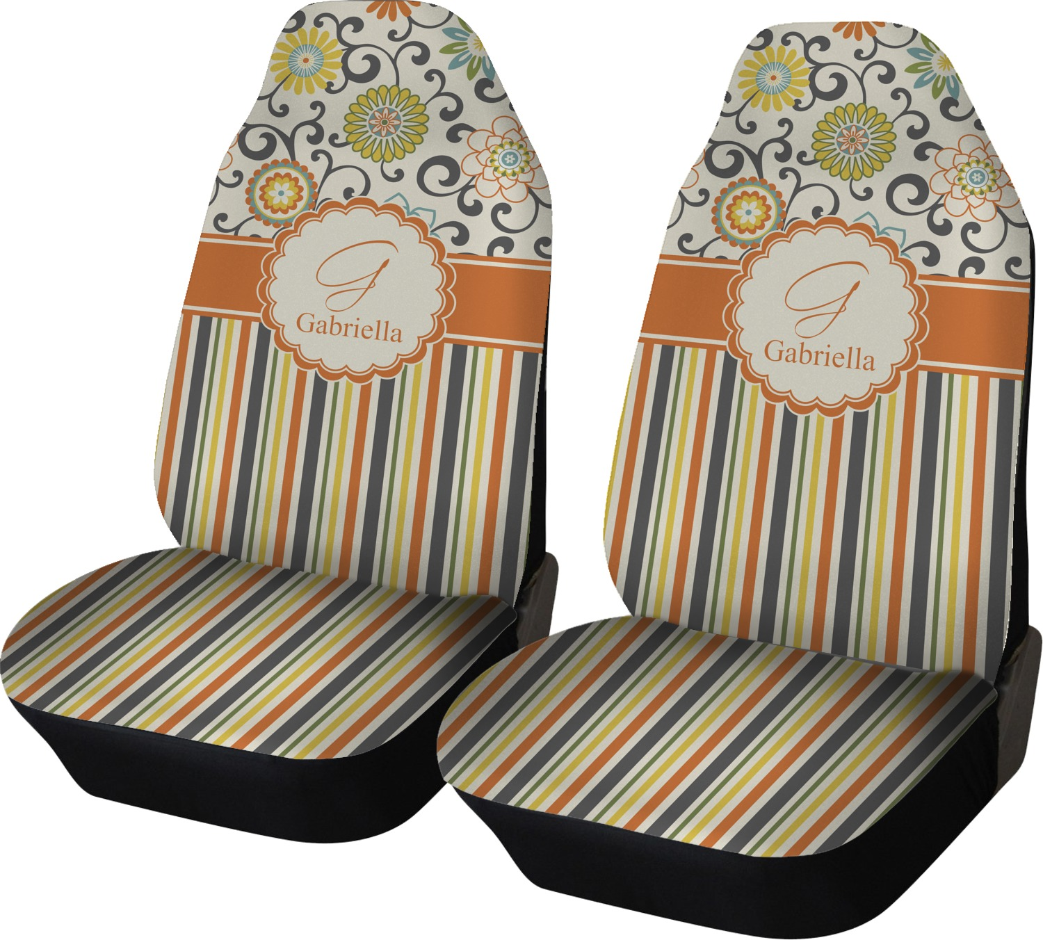 Swirls Floral Amp Stripes Car Seat Covers Set Of Two
