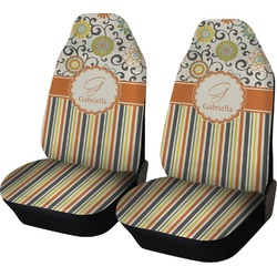 Swirls, Floral & Stripes Car Seat Covers (Set of Two) (Personalized)