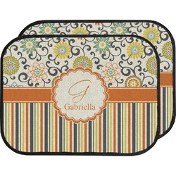 Swirls, Floral & Stripes Car Floor Mats (Back Seat) (Personalized)