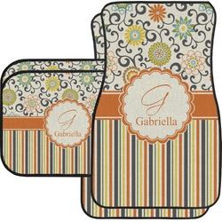 Swirls, Floral & Stripes Car Floor Mats Set - 2 Front & 2 Back (Personalized)