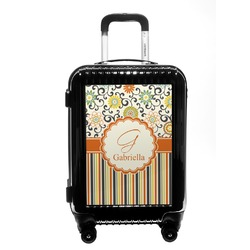 Swirls, Floral & Stripes Carry On Hard Shell Suitcase (Personalized)