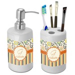 Swirls, Floral & Stripes Bathroom Accessories Set (Ceramic) (Personalized)