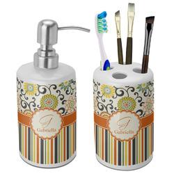 Swirls, Floral & Stripes Bathroom Accessories Set (Ceramic) (Personalized)