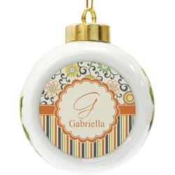 Swirls, Floral & Stripes Ceramic Ball Ornament (Personalized)