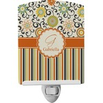 Swirls, Floral & Stripes Ceramic Night Light (Personalized)