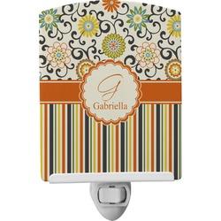 Swirls, Floral & Stripes Ceramic Night Light (Personalized)