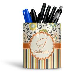 Swirls, Floral & Stripes Ceramic Pen Holder