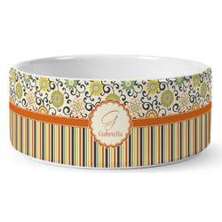 Swirls, Floral & Stripes Ceramic Pet Bowl (Personalized)