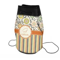 Swirls, Floral & Stripes Neoprene Drawstring Backpack (Personalized)