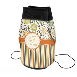 Swirls, Floral & Stripes Neoprene Drawstring Backpack (Personalized)
