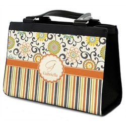 Swirls, Floral & Stripes Classic Tote Purse w/ Leather Trim (Personalized)