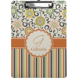 Swirls, Floral & Stripes Clipboard (Personalized)