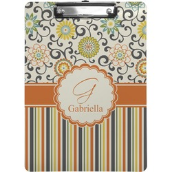 Swirls, Floral & Stripes Clipboard (Personalized)