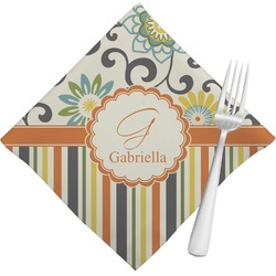 Swirls, Floral & Stripes Cloth Napkins (Set of 4) (Personalized)