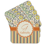 Swirls, Floral & Stripes Cork Coaster - Set of 4 w/ Name and Initial