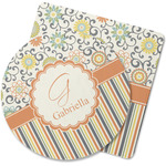Swirls, Floral & Stripes Rubber Backed Coaster (Personalized)