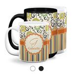 Swirls, Floral & Stripes Coffee Mugs (Personalized)