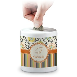 Swirls, Floral & Stripes Coin Bank (Personalized)