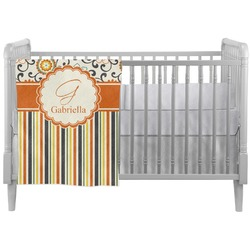Swirls, Floral & Stripes Crib Comforter / Quilt (Personalized)