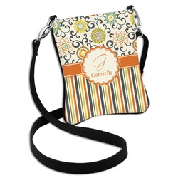 Swirls, Floral & Stripes Cross Body Bag - 2 Sizes (Personalized)
