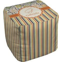 Swirls, Floral & Stripes Cube Pouf Ottoman (Personalized)