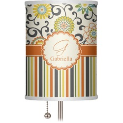 """Swirls, Floral & Stripes 7"""" Drum Lamp Shade (Personalized)"""