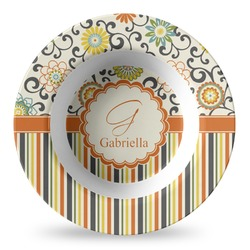 Swirls, Floral & Stripes Plastic Bowl - Microwave Safe - Composite Polymer (Personalized)