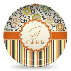Swirls, Floral & Stripes Microwave Safe Plastic Plate - Composite Polymer (Personalized)