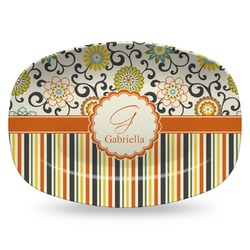Swirls, Floral & Stripes Plastic Platter - Microwave & Oven Safe Composite Polymer (Personalized)