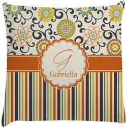 Swirls, Floral & Stripes Decorative Pillow Case (Personalized)
