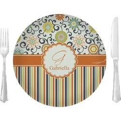"Swirls, Floral & Stripes 10"" Glass Lunch / Dinner Plates - Single or Set (Personalized)"