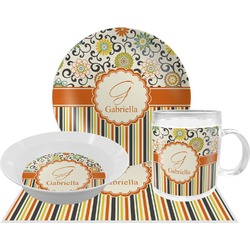 Swirls, Floral & Stripes Dinner Set - 4 Pc (Personalized)