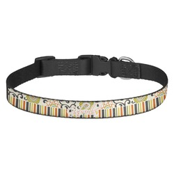 Swirls, Floral & Stripes Dog Collar (Personalized)