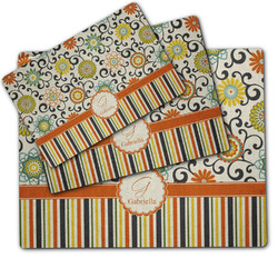 Swirls, Floral & Stripes Dog Food Mat w/ Name and Initial