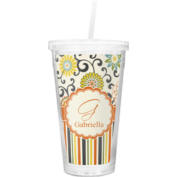 Swirls, Floral & Stripes Double Wall Tumbler with Straw (Personalized)